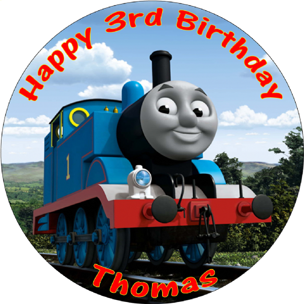 THOMAS AND FRIENDS PERSONALISED ROUND EDIBLE CAKE TOPPER
